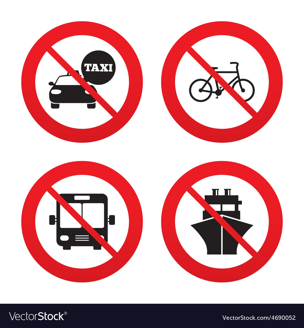 Transport icons taxi car bicycle bus and ship vector | Price: 1 Credit (USD $1)