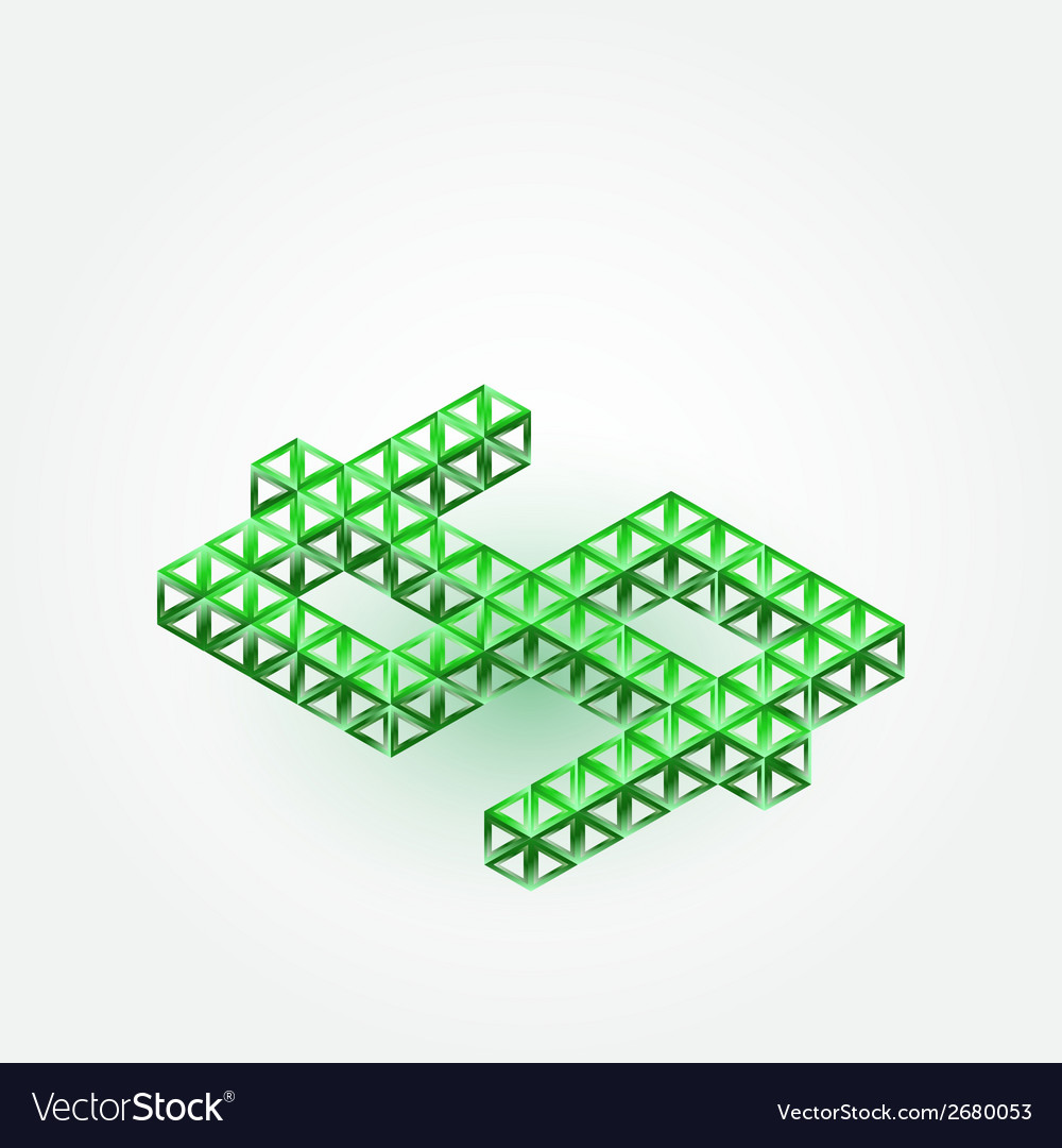 3d dollar sign made with triangles - green vector | Price: 1 Credit (USD $1)