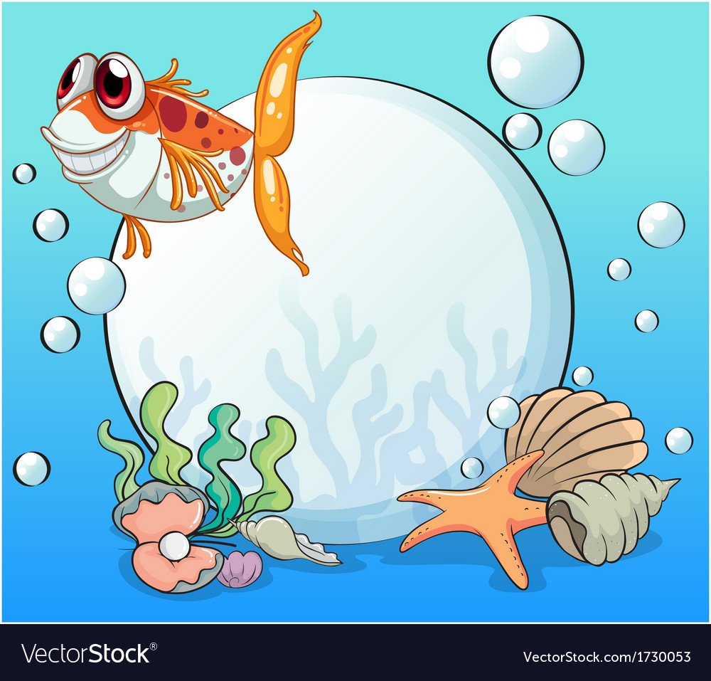 An ugly fish under the sea near the pearls vector | Price: 1 Credit (USD $1)