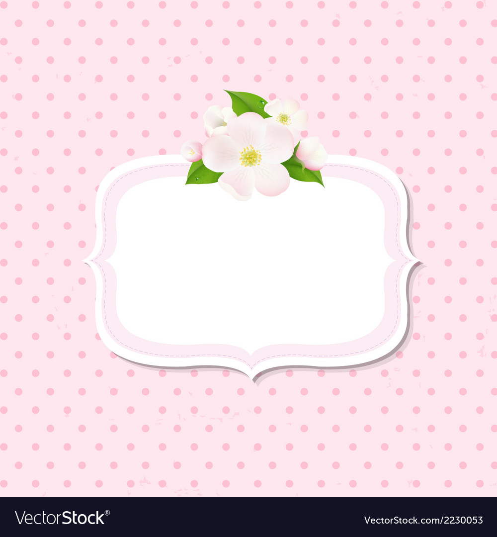 Apple tree flowers background with label vector | Price: 1 Credit (USD $1)