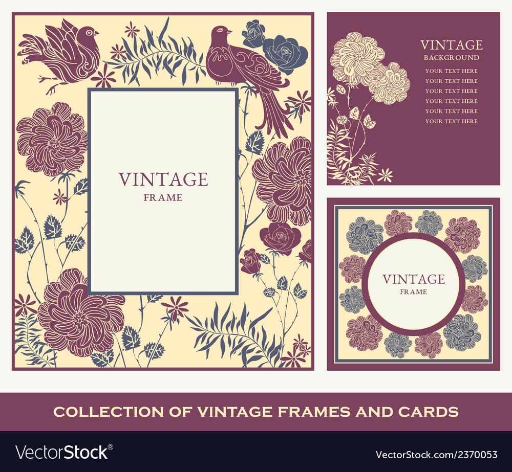 Retro abstract photo frames set birds and flowers vector | Price: 1 Credit (USD $1)