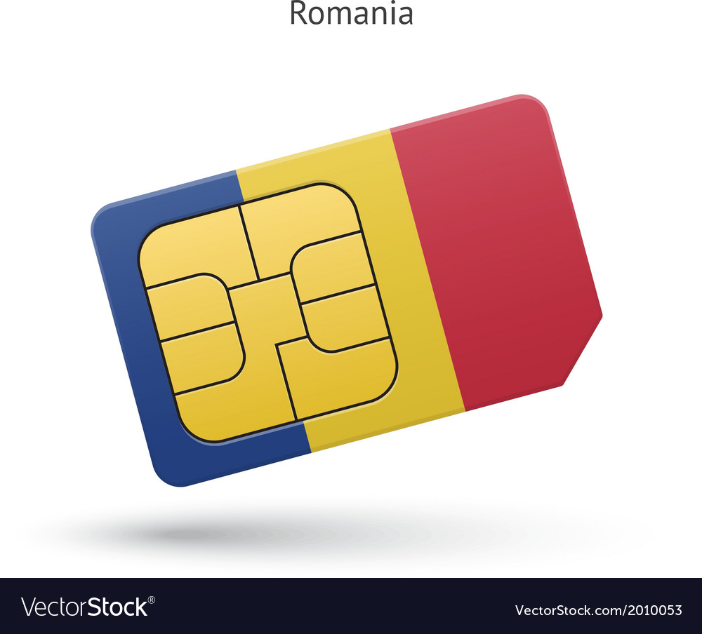 Romania mobile phone sim card with flag vector | Price: 1 Credit (USD $1)