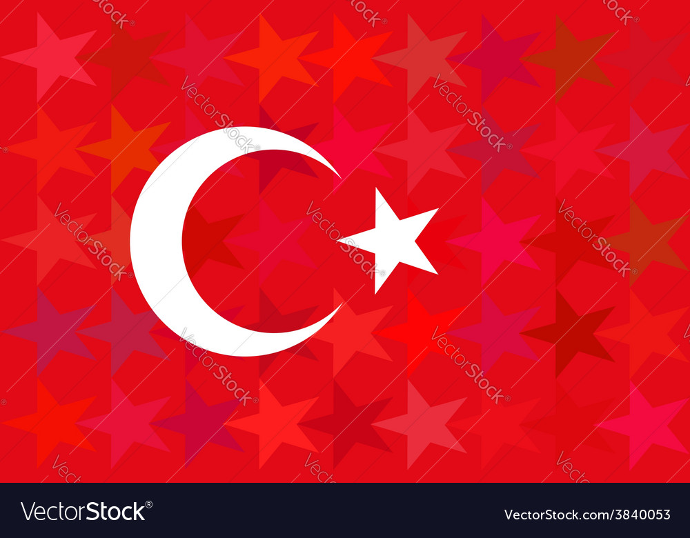 Turkey flag on unusual red stars background vector | Price: 1 Credit (USD $1)