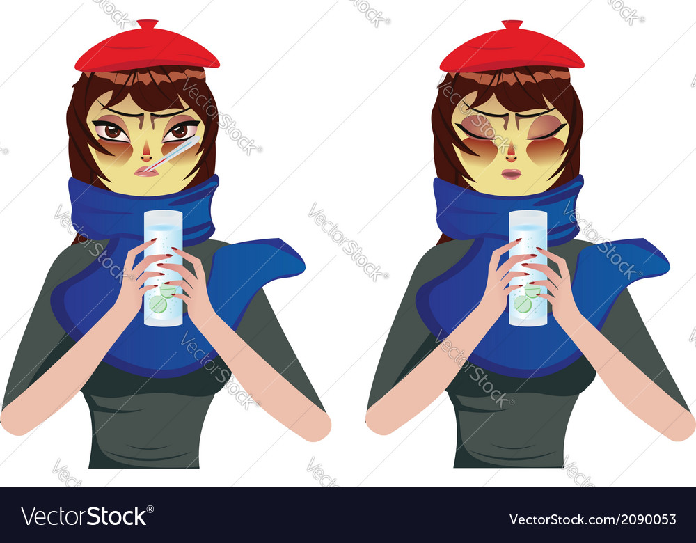 Woman having a cold vector | Price: 1 Credit (USD $1)