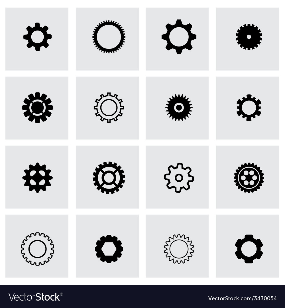 Black gear icon set vector | Price: 1 Credit (USD $1)