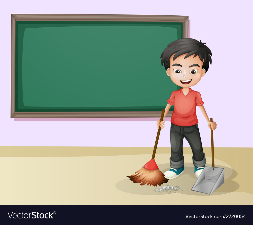Boy cleaning vector | Price: 1 Credit (USD $1)