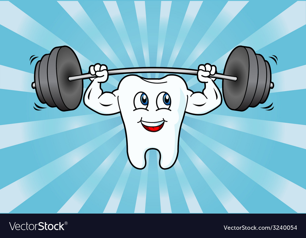 Cartoon tooth character lifting weights vector | Price: 1 Credit (USD $1)