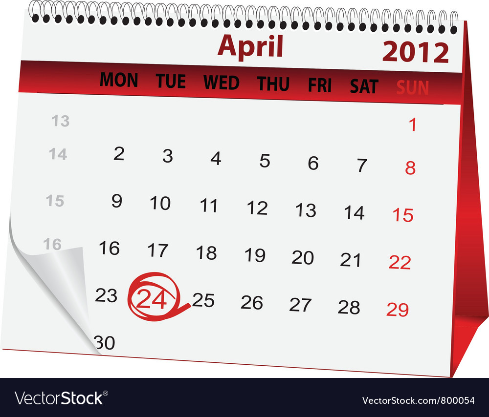 Holiday calendar after easter vector | Price: 1 Credit (USD $1)