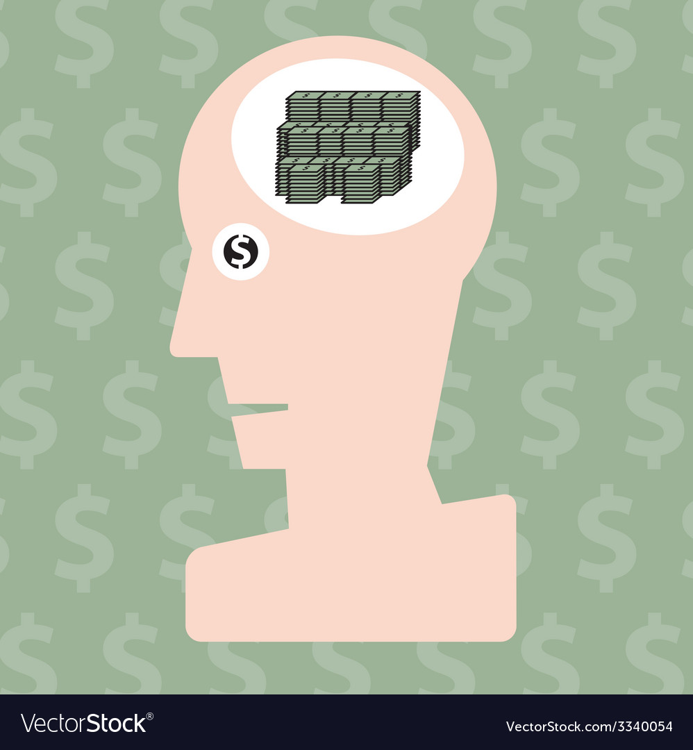 Man and money in head concept vector | Price: 1 Credit (USD $1)