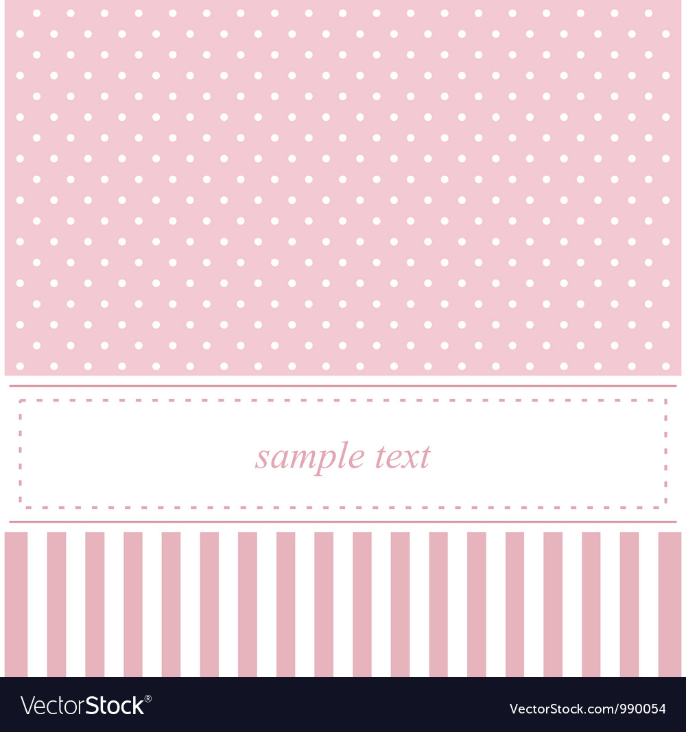 Pink card or baby shower invitation with dots vector | Price: 1 Credit (USD $1)