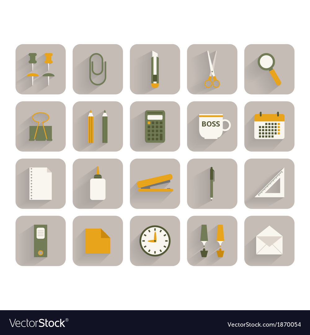 Set of office stationery icons vector | Price: 1 Credit (USD $1)