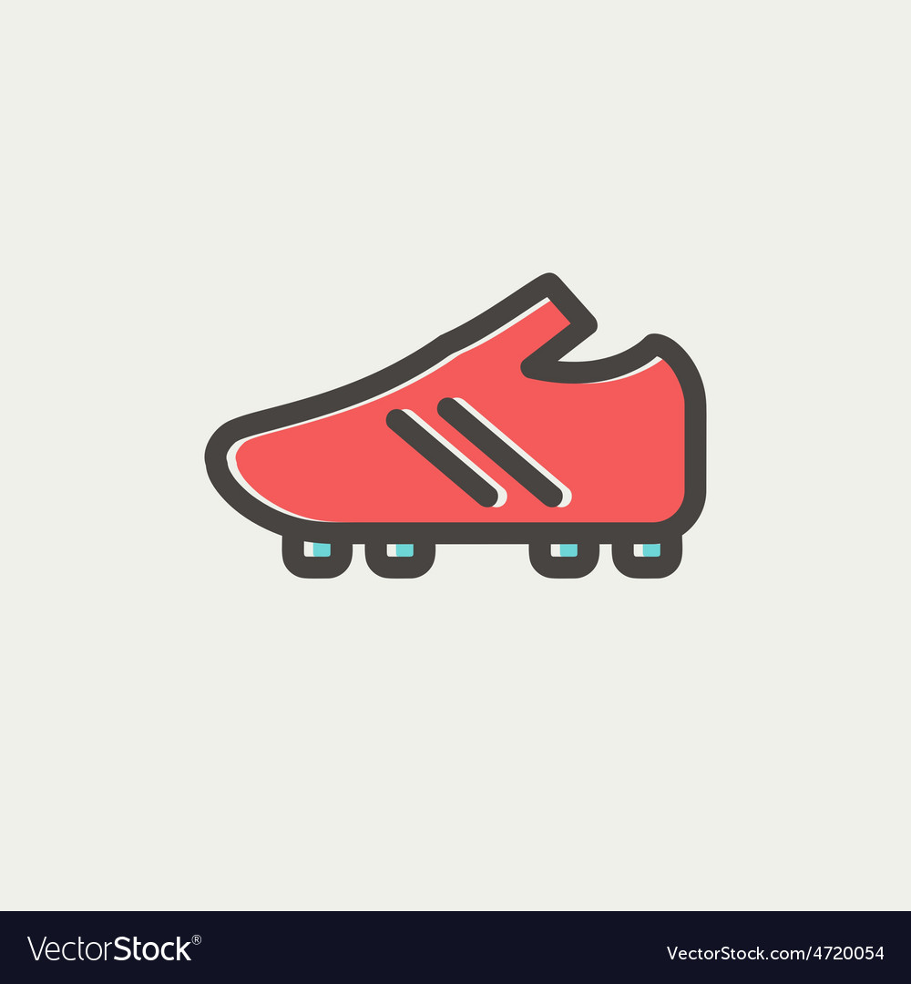 Soccer shoes thin line icon vector | Price: 1 Credit (USD $1)