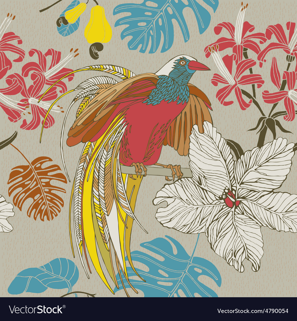 Tropical flowers birds vector | Price: 1 Credit (USD $1)