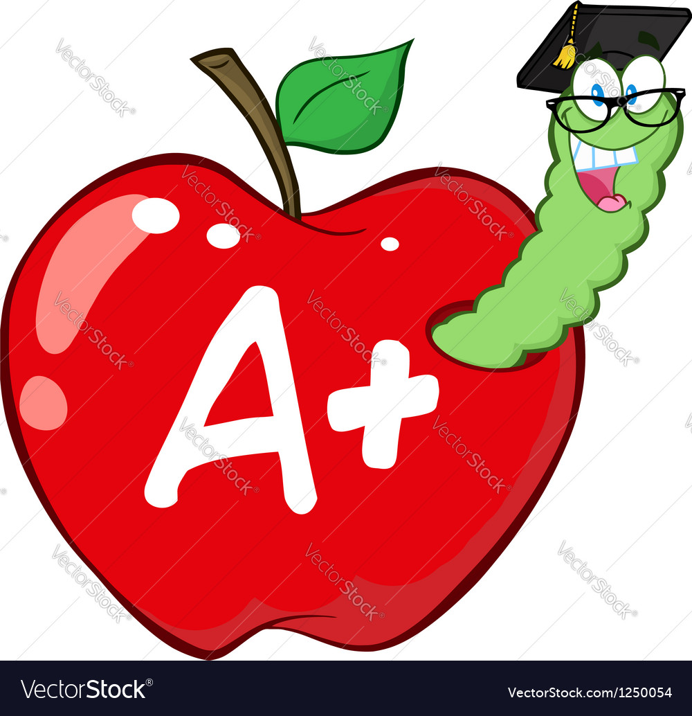 Worm in red apple with graduate cap vector | Price: 1 Credit (USD $1)