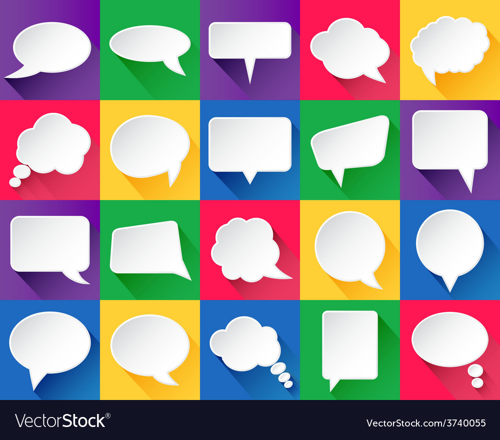 20 speech bubbles with shadows vector | Price: 1 Credit (USD $1)
