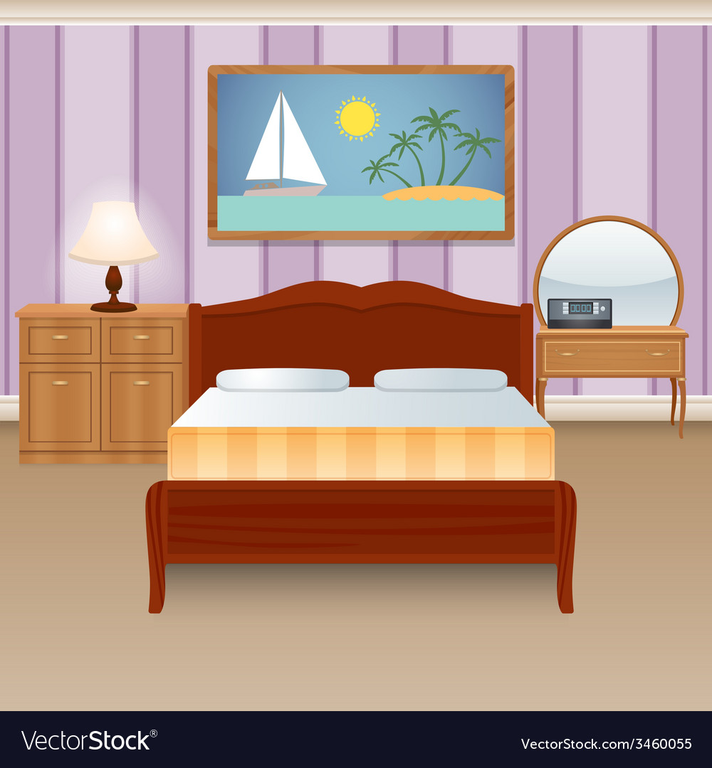 Bed room interior vector | Price: 1 Credit (USD $1)