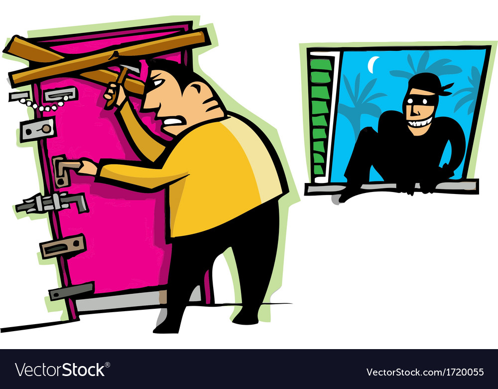 Burglar breaks into house vector | Price: 3 Credit (USD $3)