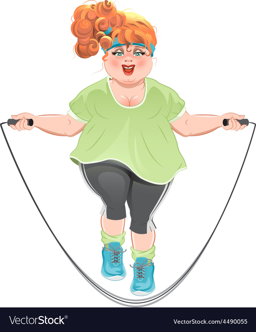 Fat woman skipping rope vector | Price: 1 Credit (USD $1)