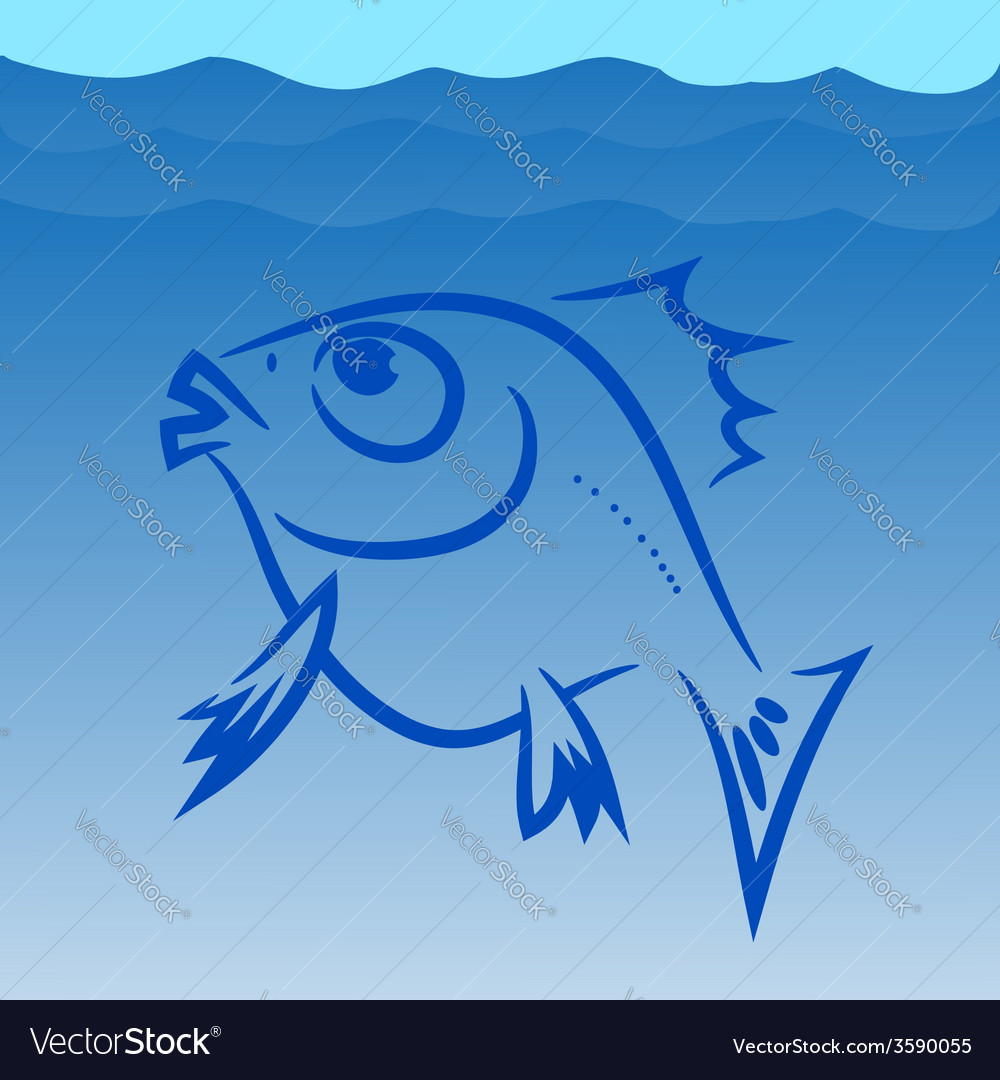 Fish silhouette vector | Price: 1 Credit (USD $1)