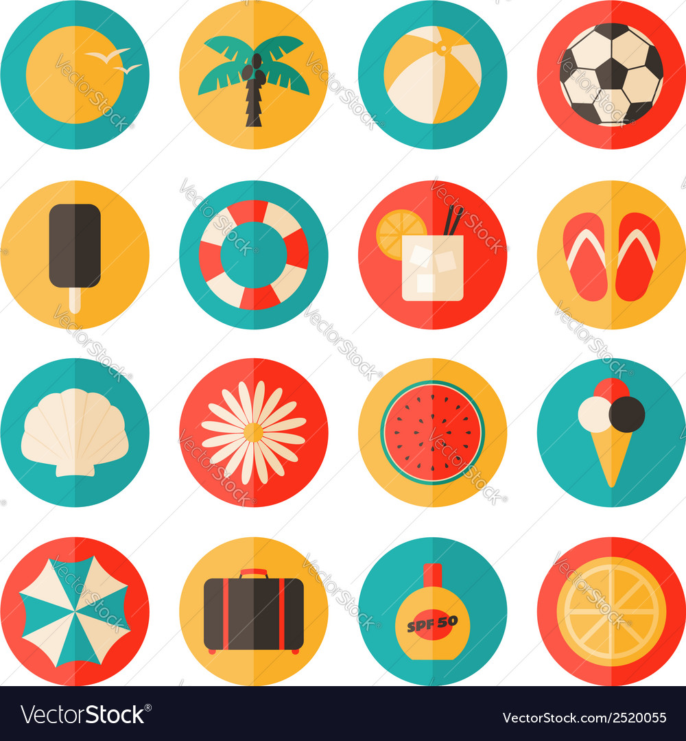 Flat design long shadow summer season icon set vector | Price: 1 Credit (USD $1)