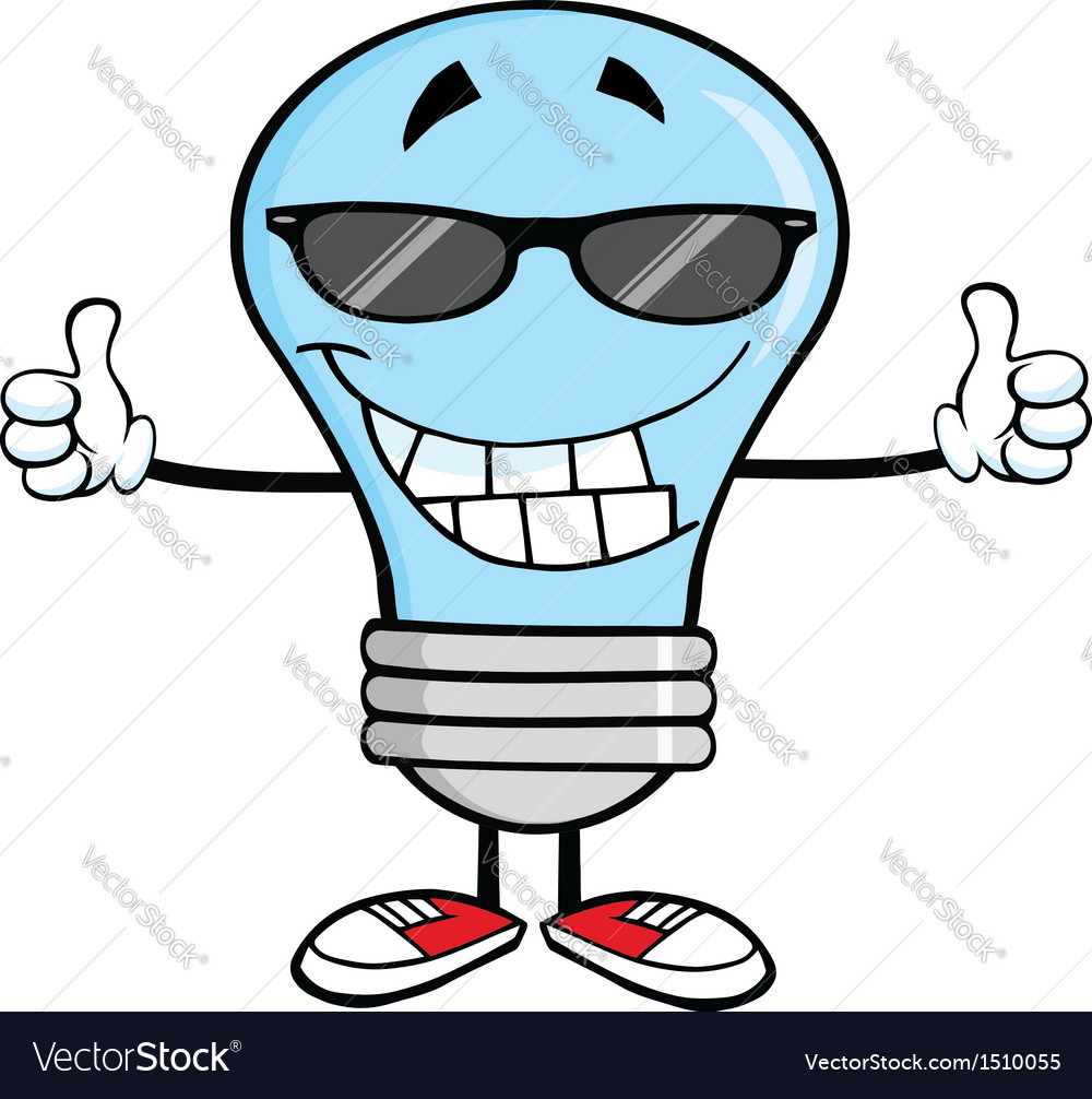 Light bulb cartoon with thumbs up vector | Price: 1 Credit (USD $1)