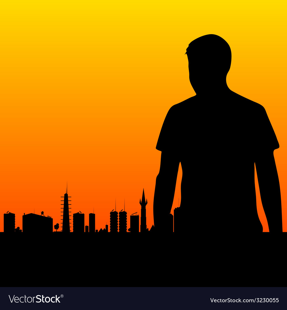 Man and the city vector | Price: 1 Credit (USD $1)