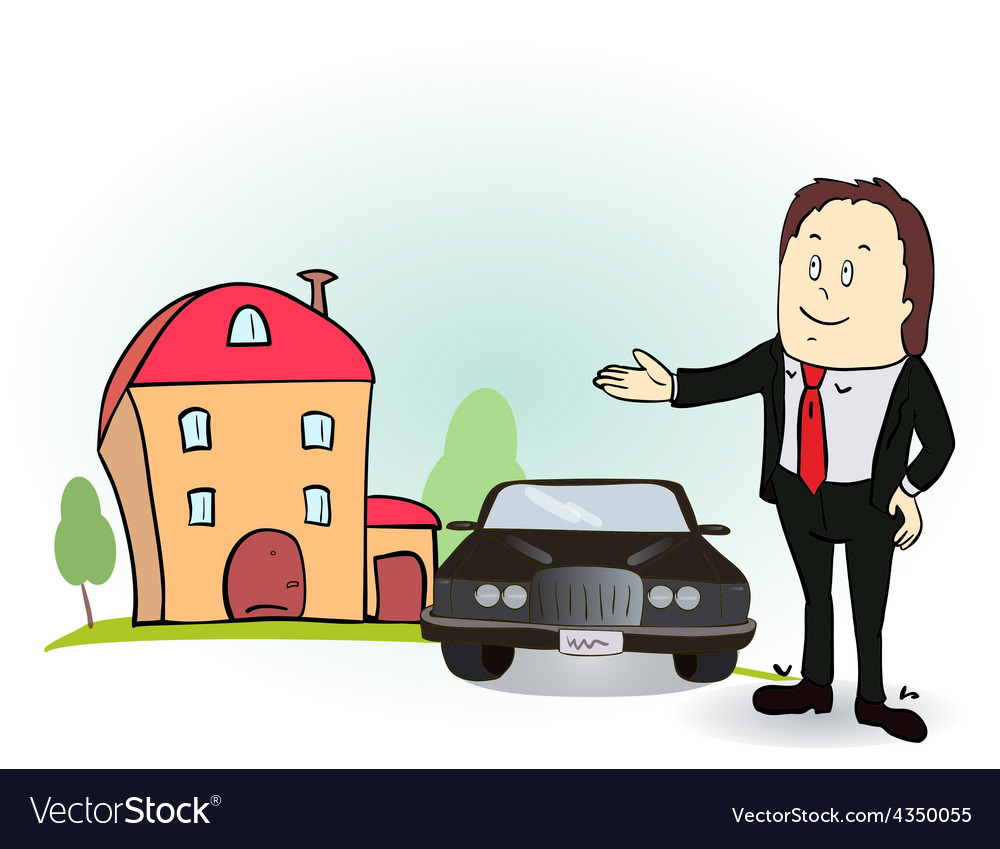 Man indicates his hands on the house and car vector | Price: 1 Credit (USD $1)