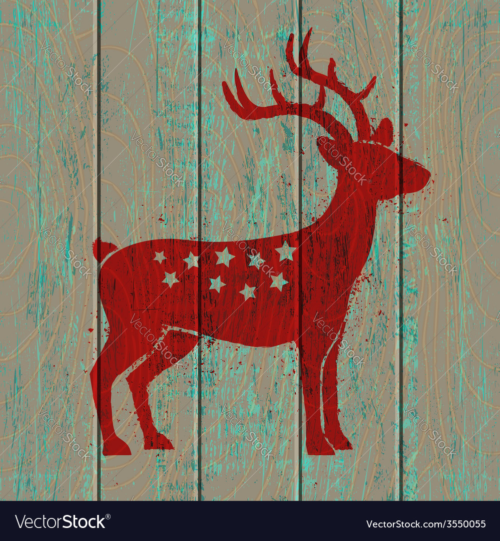 Old wooden background and deer vector | Price: 1 Credit (USD $1)