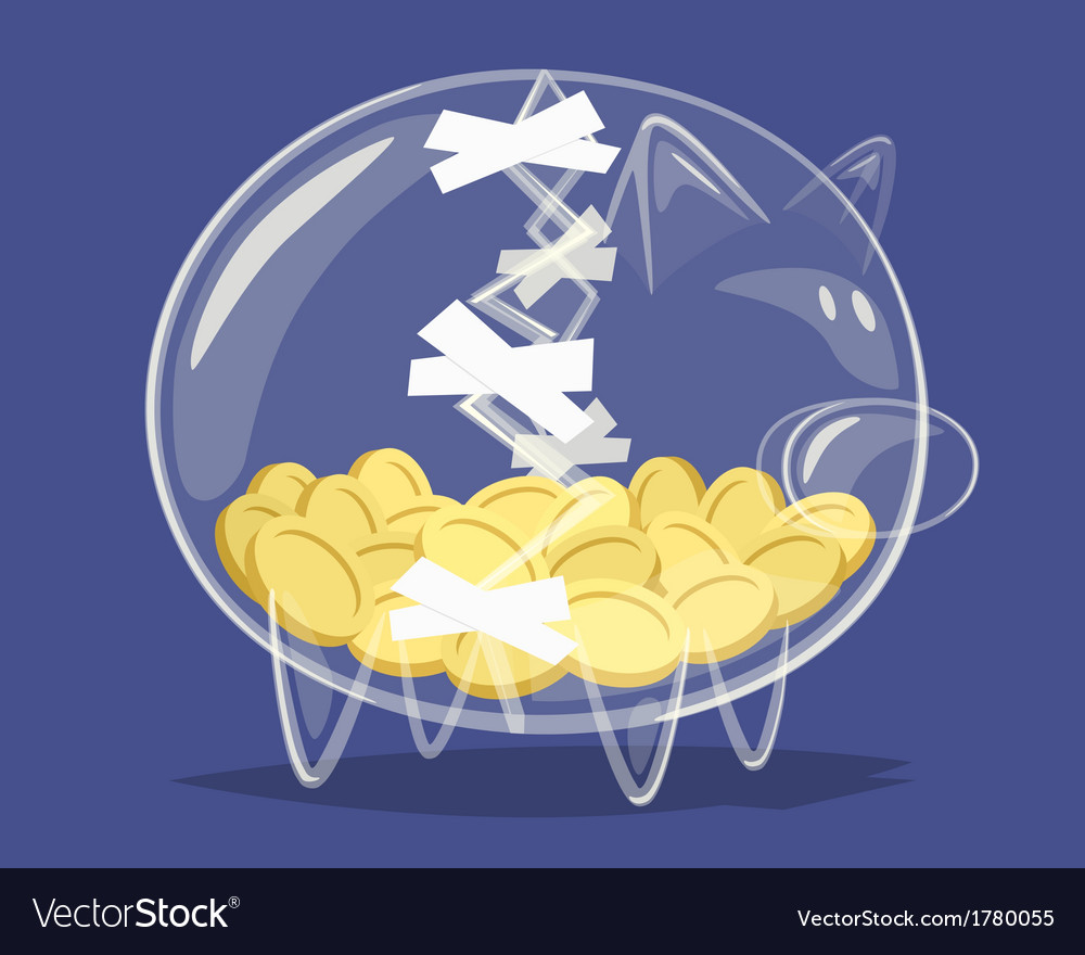 Repaired glass piggy bank vector | Price: 1 Credit (USD $1)
