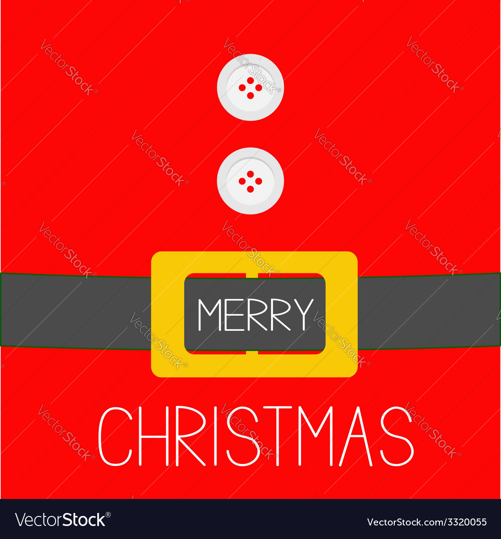 Santa claus coat golden belt merry christmas vector | Price: 1 Credit (USD $1)