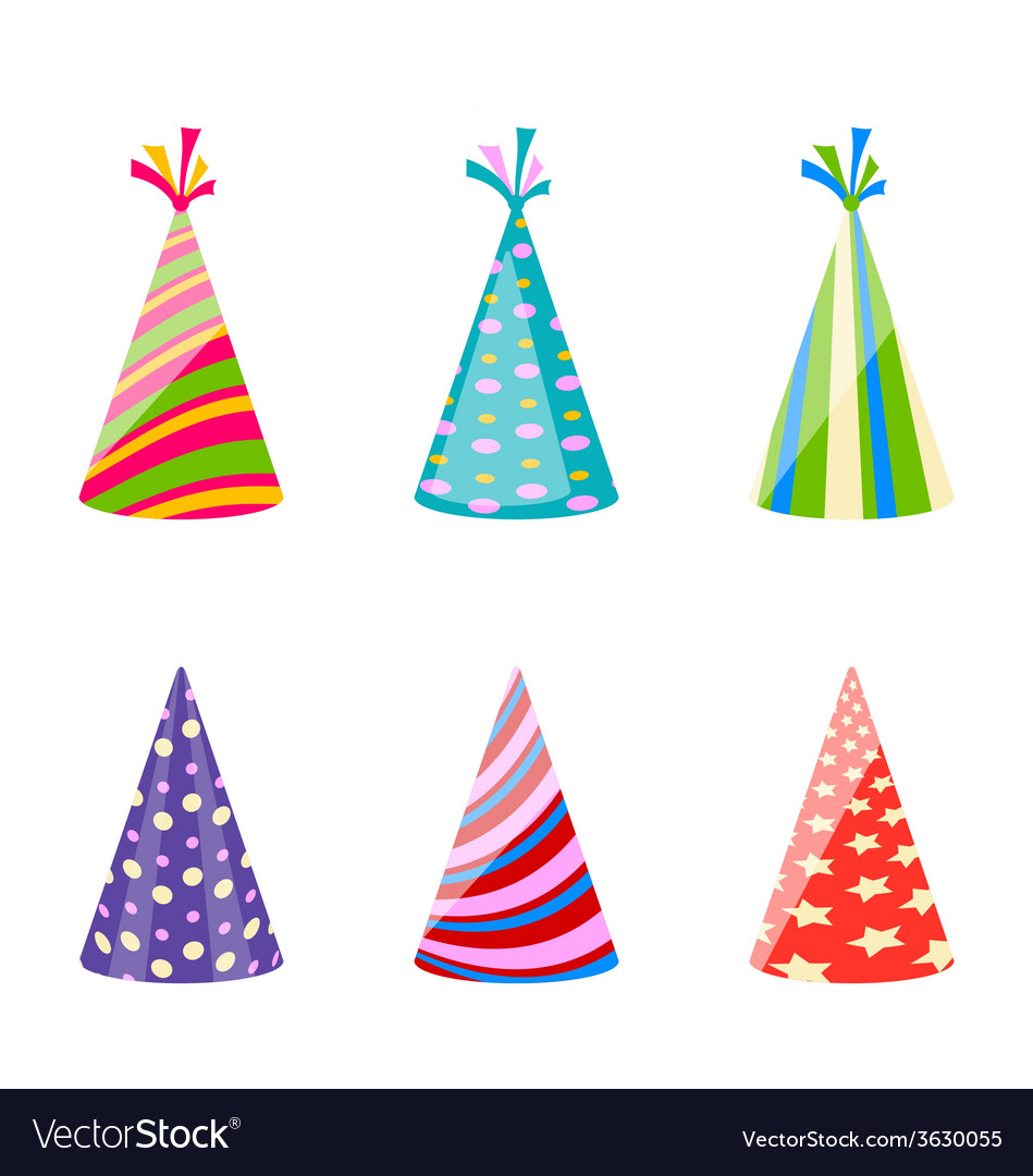 Set of party colorful hats isolated on white vector | Price: 1 Credit (USD $1)