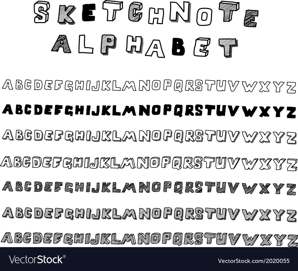 Sketchnote alphabet vector | Price: 1 Credit (USD $1)