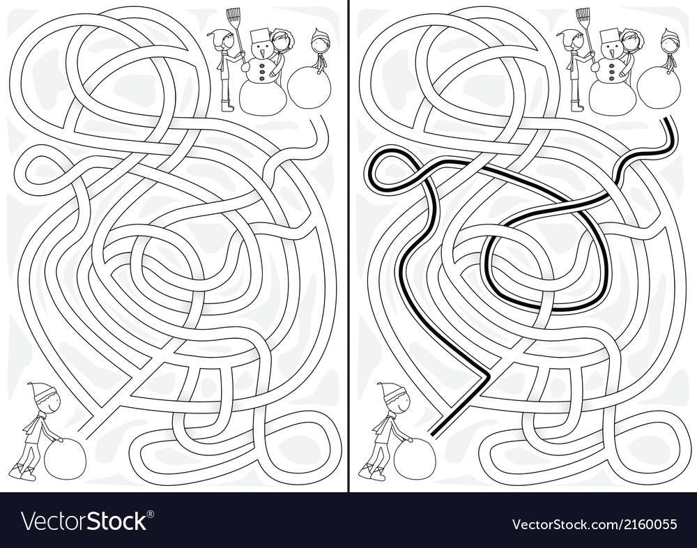 Snowman maze vector | Price: 1 Credit (USD $1)