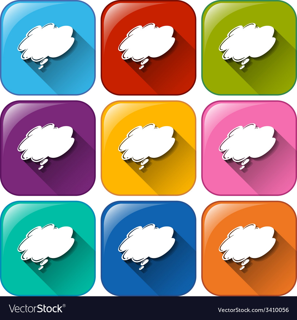 Buttons with empty cloud templates vector | Price: 1 Credit (USD $1)