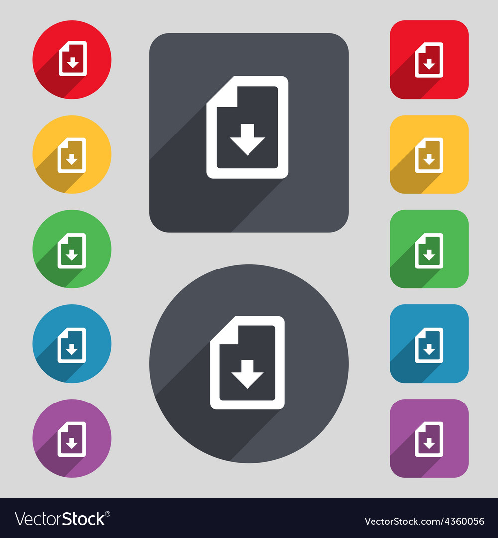 Import download file icon sign a set of 12 colored vector | Price: 1 Credit (USD $1)