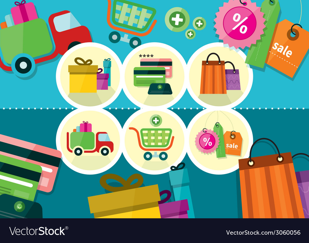 Internet shopping process and delivery icons vector | Price: 1 Credit (USD $1)