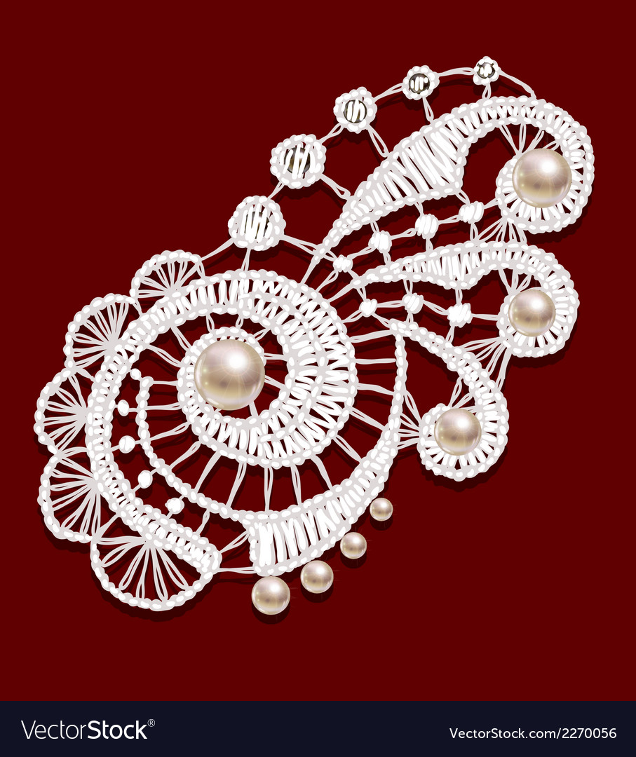Openwork lace with pearls realistic vector | Price: 1 Credit (USD $1)