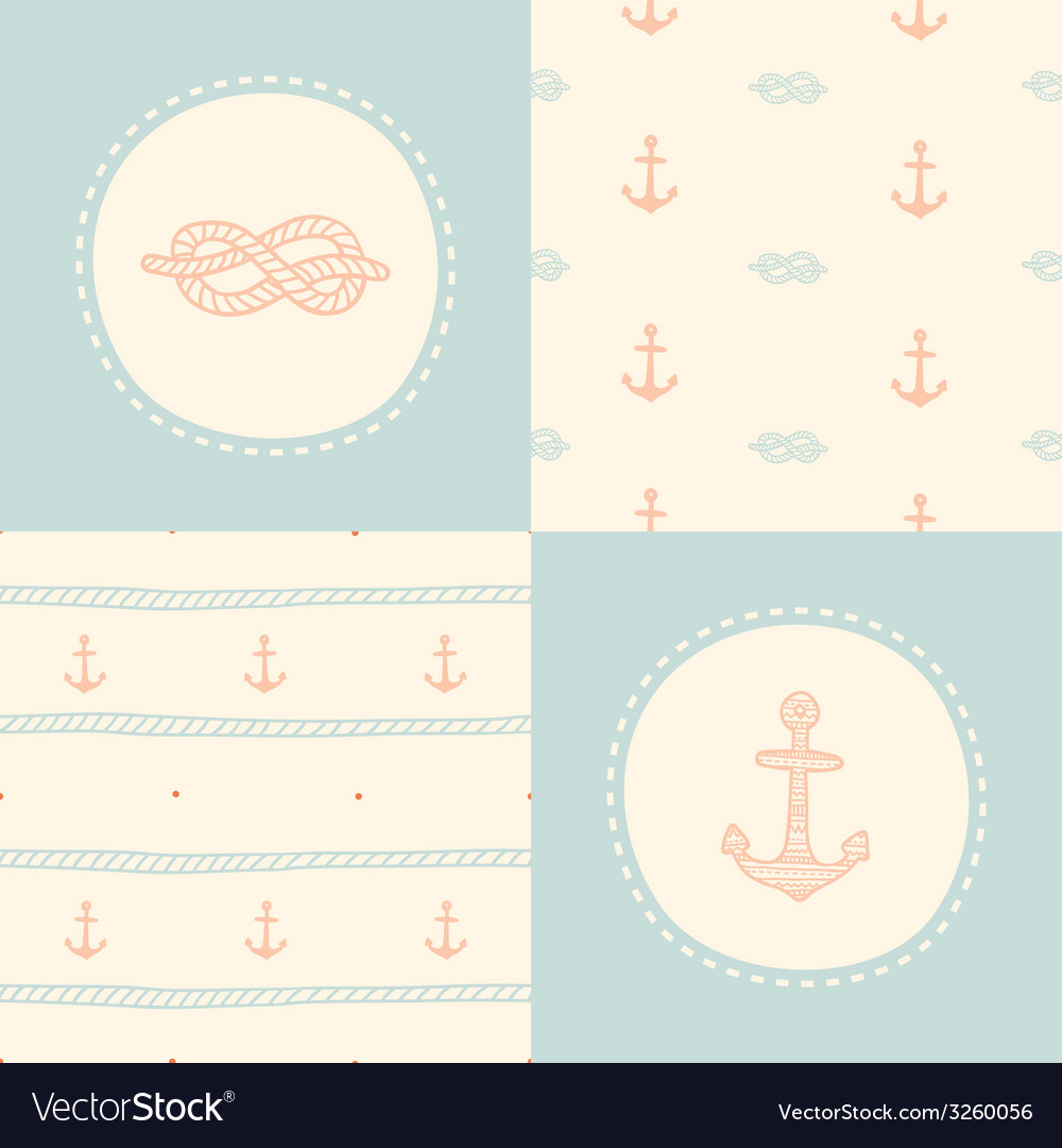 Retro anchor pattern set vector | Price: 1 Credit (USD $1)