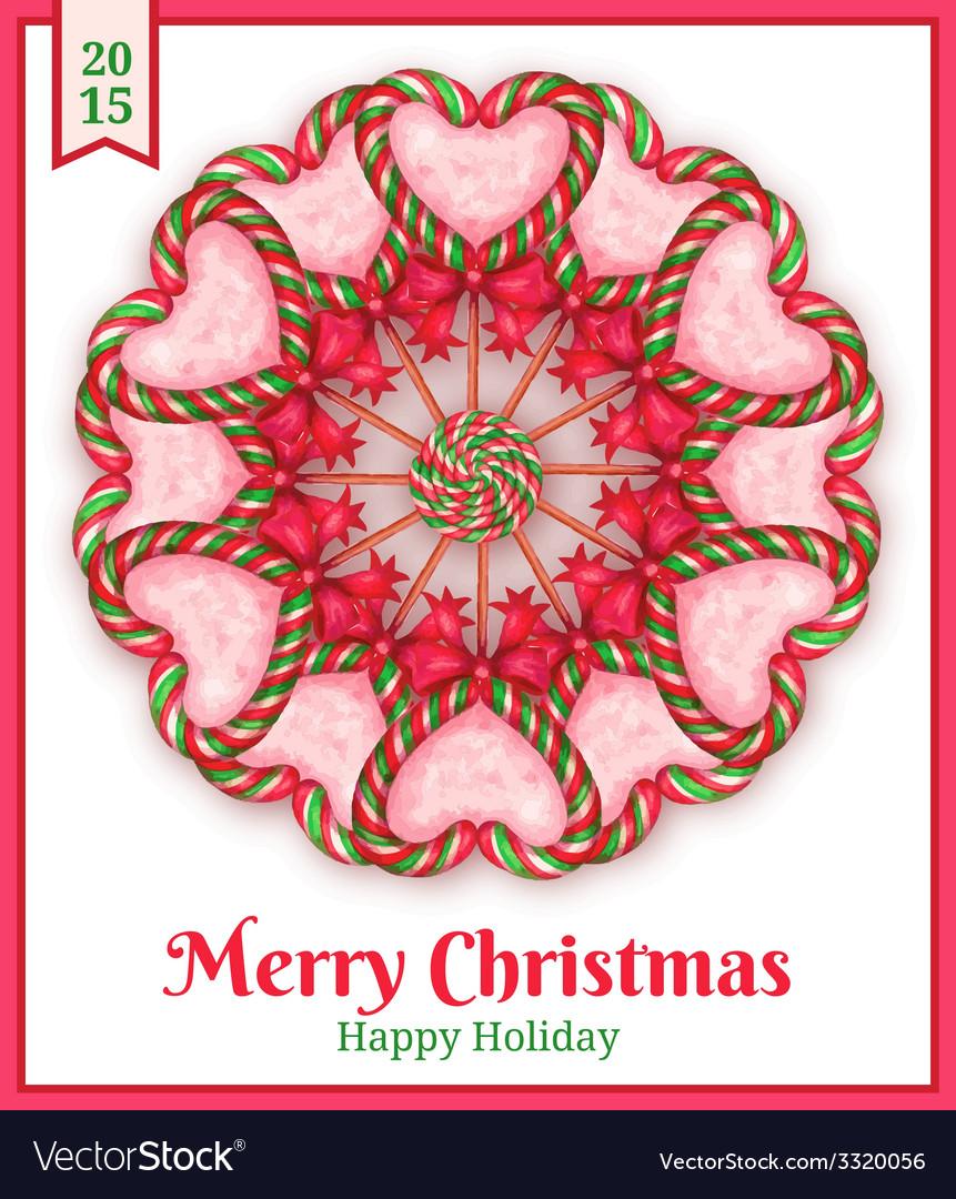 Sugar candies holiday card vector   Price: 1 Credit (USD $1)