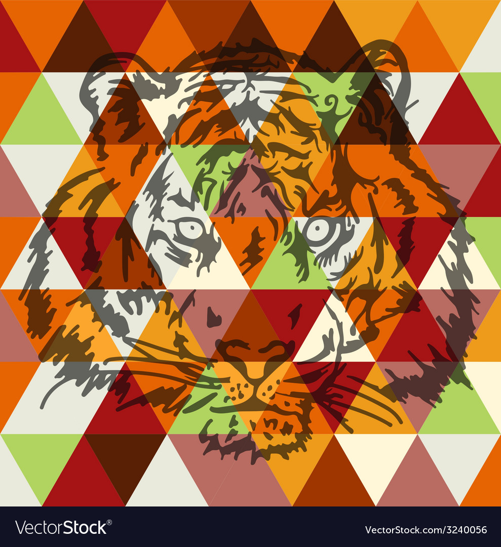 Tiger face poster art vector | Price: 1 Credit (USD $1)