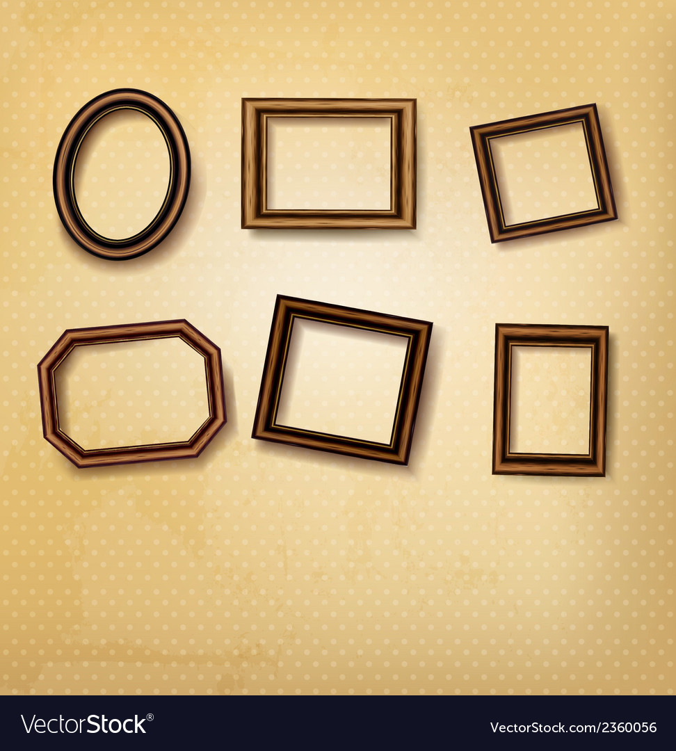 Wooden vintage frames on old wall vector | Price: 1 Credit (USD $1)