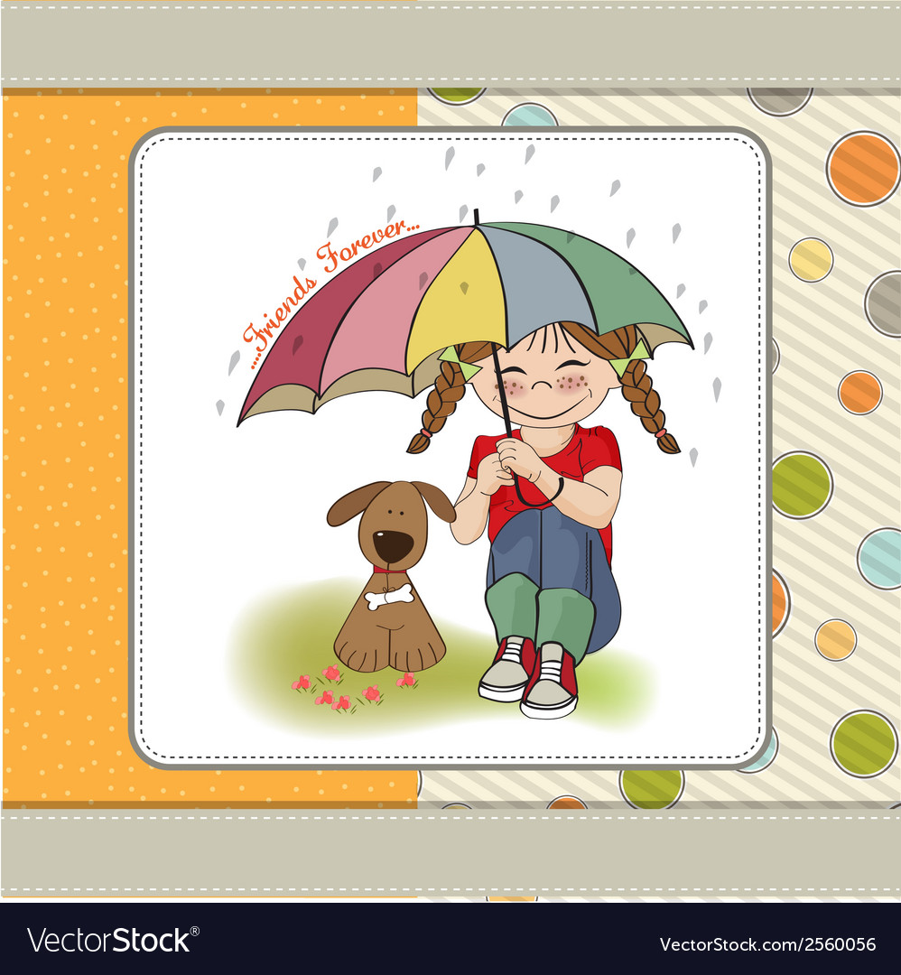 Young pretty girl and her dog friendship card vector | Price: 1 Credit (USD $1)