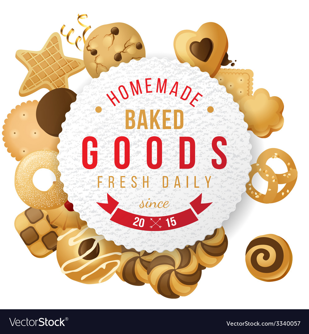 Baked goods label with type design vector   Price: 3 Credit (USD $3)