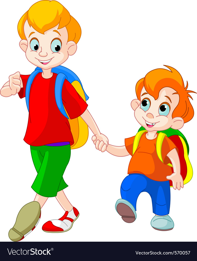 Brothers go to school vector | Price: 1 Credit (USD $1)