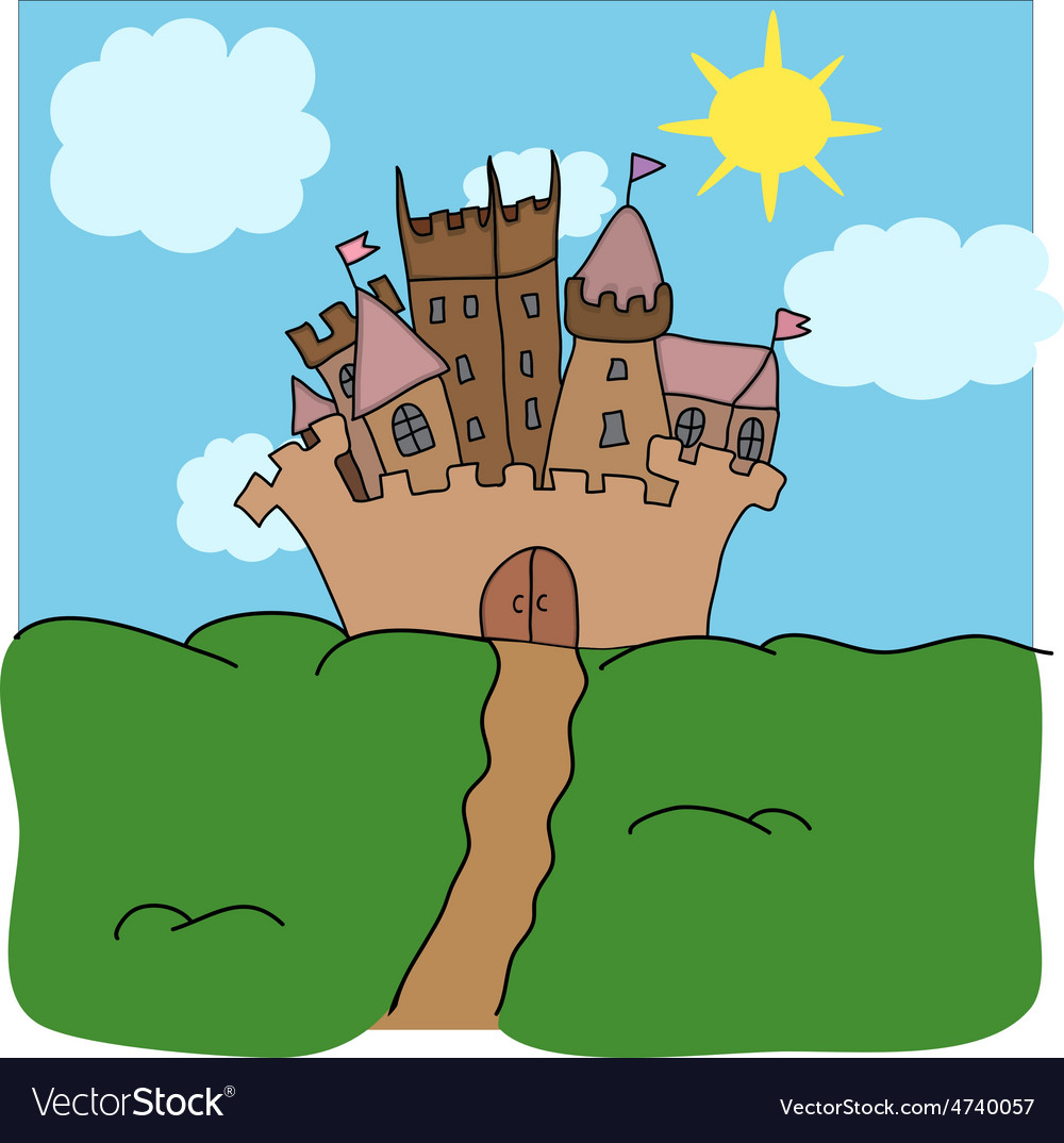 Castle on the hill art vector | Price: 1 Credit (USD $1)