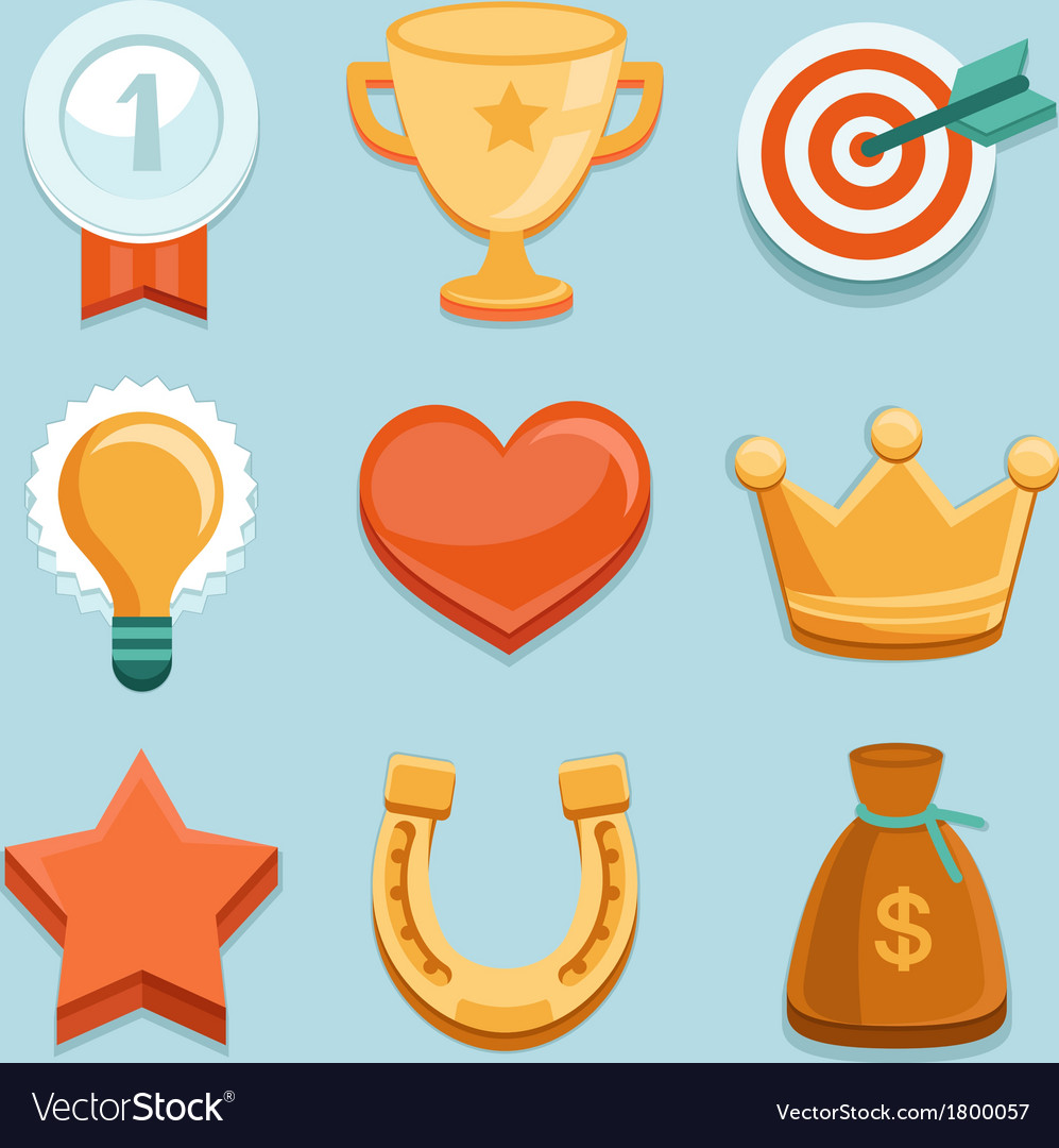 Flat gamification icons achievement badges vector | Price: 1 Credit (USD $1)
