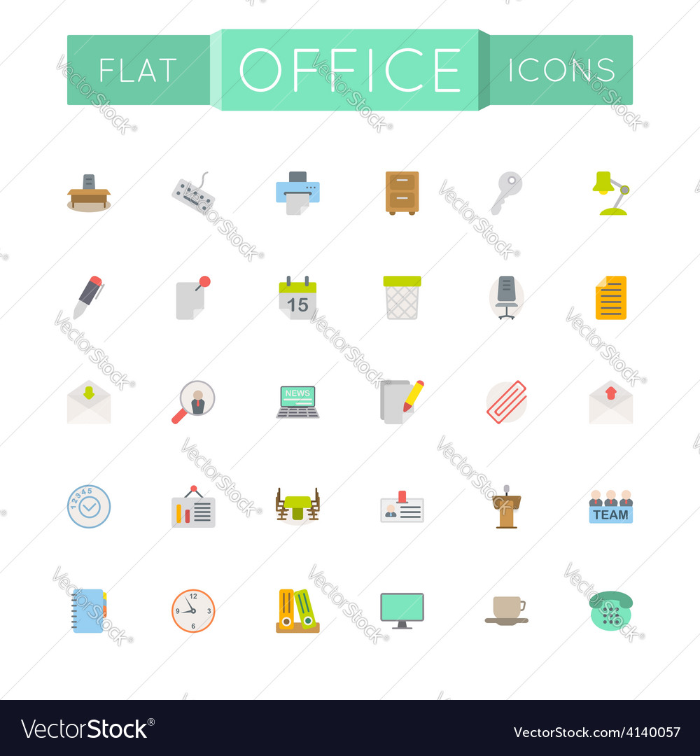 Flat office icons vector   Price: 1 Credit (USD $1)