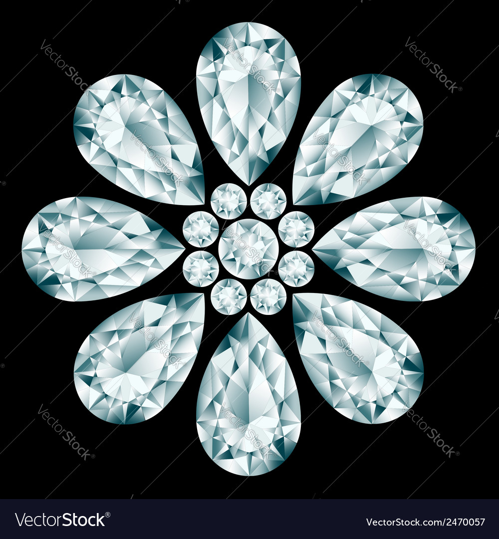 Flower gemstone composition vector | Price: 1 Credit (USD $1)