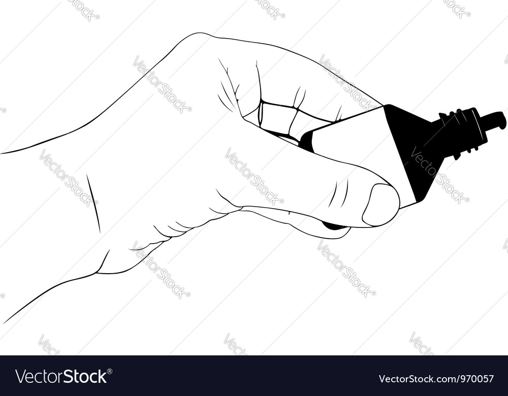 Hand holding drop container vector | Price: 1 Credit (USD $1)