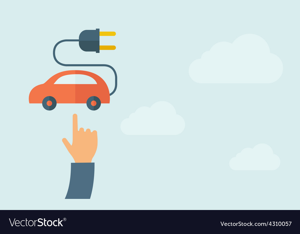 Hand pointing to rechargeable car icon vector | Price: 1 Credit (USD $1)